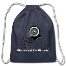 "Load image into Gallery viewer, ""Married To Music"" Line - Cotton Light-Blue Drawstring Bag - navy"