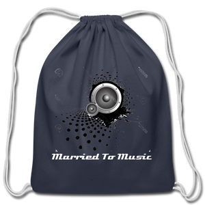 """Married To Music"" Line - Cotton Light-Blue Drawstring Bag - navy"