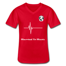 "Load image into Gallery viewer, Premier DJ E-Luv Logo - ""Married To Music"" Signature Men's Navy V-Neck T-Shirt - red"