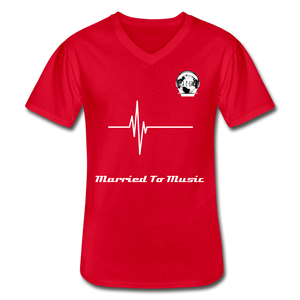 "Premier DJ E-Luv Logo - ""Married To Music"" Signature Men's Navy V-Neck T-Shirt - red"