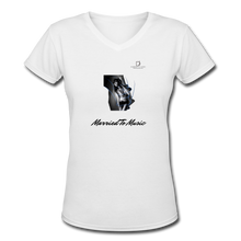 "Load image into Gallery viewer, Women DJ's Dream Logo - ""Married To Music"" Girl-Art Women's V-Neck T-Shirt - white"