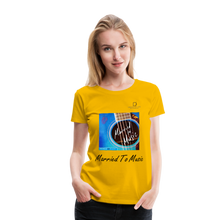 "Load image into Gallery viewer, Women DJ's Dream Logo - ""Married To Music"" Blue Guitar Women's Premium T-Shirt - sun yellow"