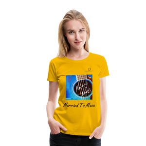 "Women DJ's Dream Logo - ""Married To Music"" Blue Guitar Women's Premium T-Shirt - sun yellow"