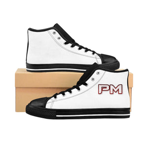 "P.M. - ""Perfect Makeup"" Line - Raspberry Logo Custom Design Women's High-Top Sneakers"