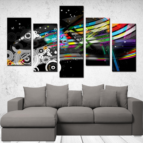 Dark & Colorful Abstract 5 Panels Canvas Wall Art