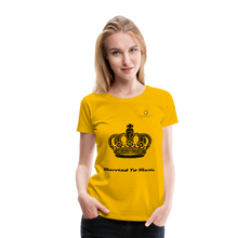 "Load image into Gallery viewer, Women DJ's Dream Logo - ""Married To Music"" Queen 01 Women's Premium  T-Shirt - sun yellow"