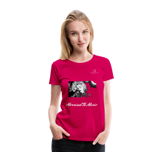 "Women DJ's Dream Logo - ""Married To Music"" Iconic Madonna Women's Premium Black T-Shirt - dark pink"