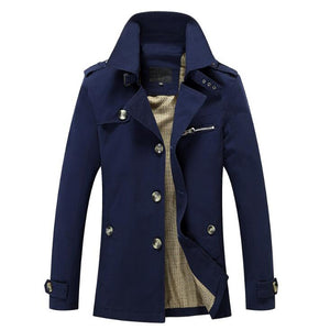 Men's Solid Casual & Fashion Style Trench Coat - Plus Sizes Available
