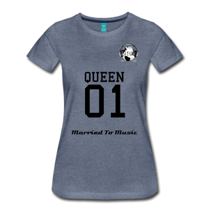 "Premier DJ E-Luv Logo - ""Married To Music"" Queen 01 Women's Premium T-Shirt - heather blue"