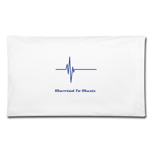 """Married To Music"" Line - Navy Style Cotton Pillowcase 32'' x 20'' - white"