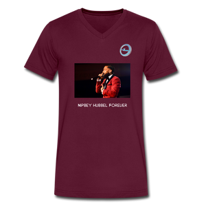 "N.L. ""Nipsey Hussle Forever"" - Premium Men's V-Neck T-Shirt by Canvas - maroon"