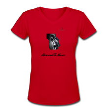 "Load image into Gallery viewer, Women DJ's Dream Logo - ""Married To Music"" Girl-Art Women's V-Neck T-Shirt - red"