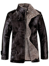 Load image into Gallery viewer, Stand Collar Flocking Single Breasted PU-Leather Jacket