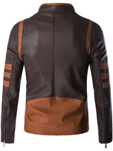 Load image into Gallery viewer, Plus Size Color Block Splicing Design Zip Up PU Leather Jacket