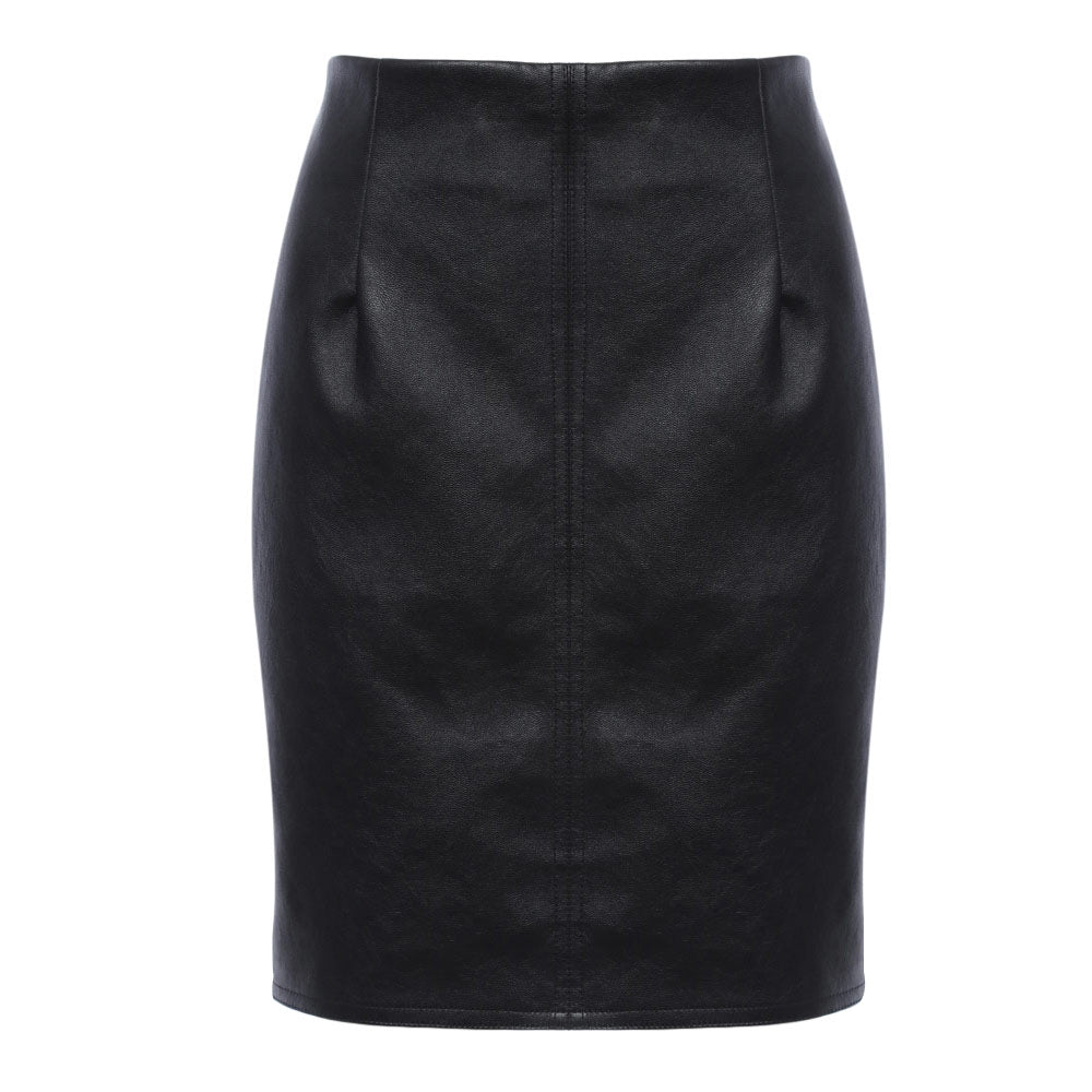 Brief Zipper Design Leather Women Skirt