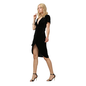 NEW Fashion Short Sleeve Plunge Neck High-Low Hem Women's Dress