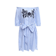 Load image into Gallery viewer, Trendy Off The Shoulder Stripe Floral Embroidery Women's Dress