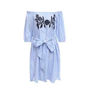 Trendy Off The Shoulder Stripe Floral Embroidery Women's Dress