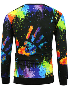 Crew Neck 3D Colorful Hand Splatter Paint Print Sweatshirt