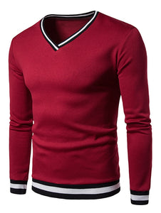 NEW Fashion Striped Rib Panel Men's *Breathable V-Neck Long Sleeve Sweatshirt