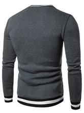 Load image into Gallery viewer, NEW Fashion Striped Rib Panel Men's *Breathable V-Neck Long Sleeve Sweatshirt