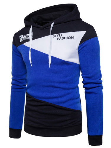 Style Fashion Men's Color Block *Breathable Graphic Fleece Hoodie