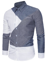 Load image into Gallery viewer, Stylish Turndown Collar Men's *Breathable Color Block Panel Dress Shirt