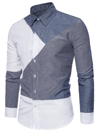 Stylish Turndown Collar Men's *Breathable Color Block Panel Dress Shirt