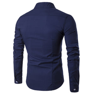2019 Men's Stylish New Fashion Stand Collar Oblique Placket Long Sleeve Shirt