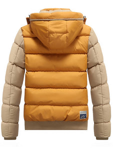 Men's Color Block Stylish Fashion Puffer Jacket with Detachable Hood