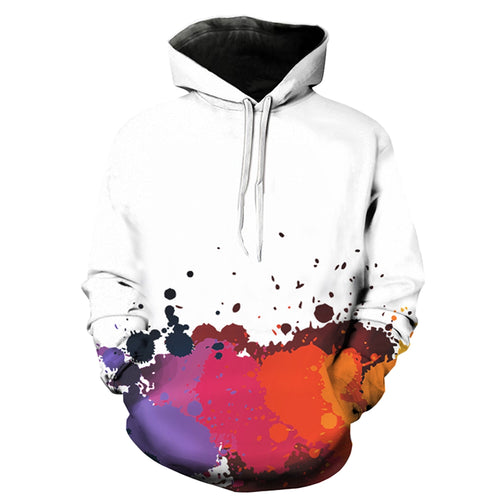 Men's Stylish 3D Colorful Paint Splatter *Breathable Pullover Hoodie