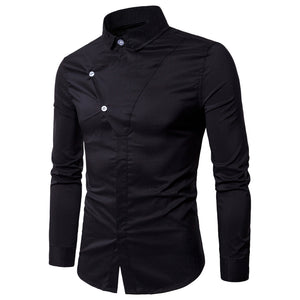 Long Sleeve Covered Botton Panel Shirt