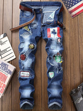 Load image into Gallery viewer, NEW Fashion Flag Men's Graphic Print Straight Distressed Jeans