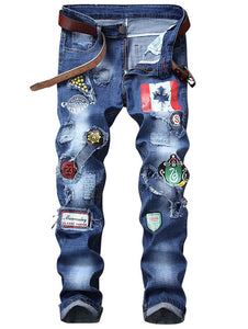 NEW Fashion Flag Men's Graphic Print Straight Distressed Jeans