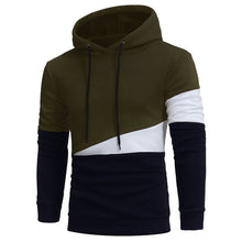 Load image into Gallery viewer, Men's Stylish Drawstring Color Block Panel Fleece Pullover Hoodie