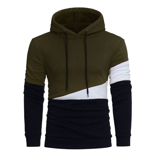 Men's Stylish Drawstring Color Block Panel Fleece Pullover Hoodie