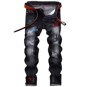 Men's Stylish Straight Leg Embroidery Distressed Skinny Jeans