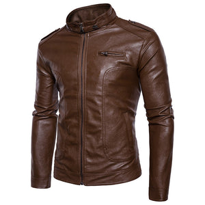 Stand Collar Epaulet Faux Men's Leather Zip Up Jacket