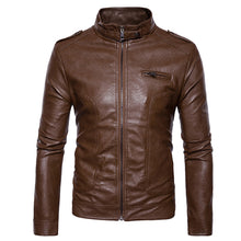 Load image into Gallery viewer, Stand Collar Epaulet Faux Men's Leather Zip Up Jacket