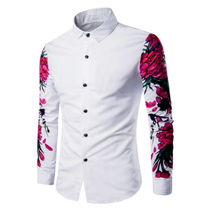 Turndown Collar 3D Flowers Print Men's *Breathable Dress Shirt