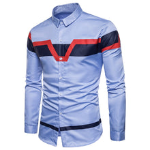 Load image into Gallery viewer, Turndown Collar Color Block Men's *Breathable Panel Print Shirt
