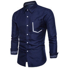 Load image into Gallery viewer, Turndown Collar Dot Print Men's *Breathable Color Block Pocket Shirt
