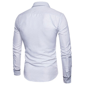 Turndown Collar Dot Print Men's *Breathable Color Block Pocket Shirt