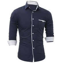 Load image into Gallery viewer, Turndown Collar Men's *Breathable Edging Pocket Dress Shirt