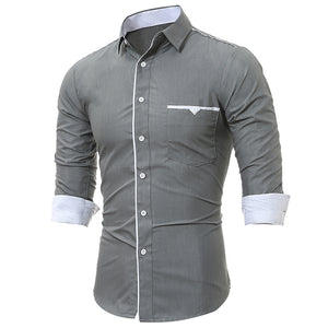 Turndown Collar Men's *Breathable Edging Pocket Dress Shirt