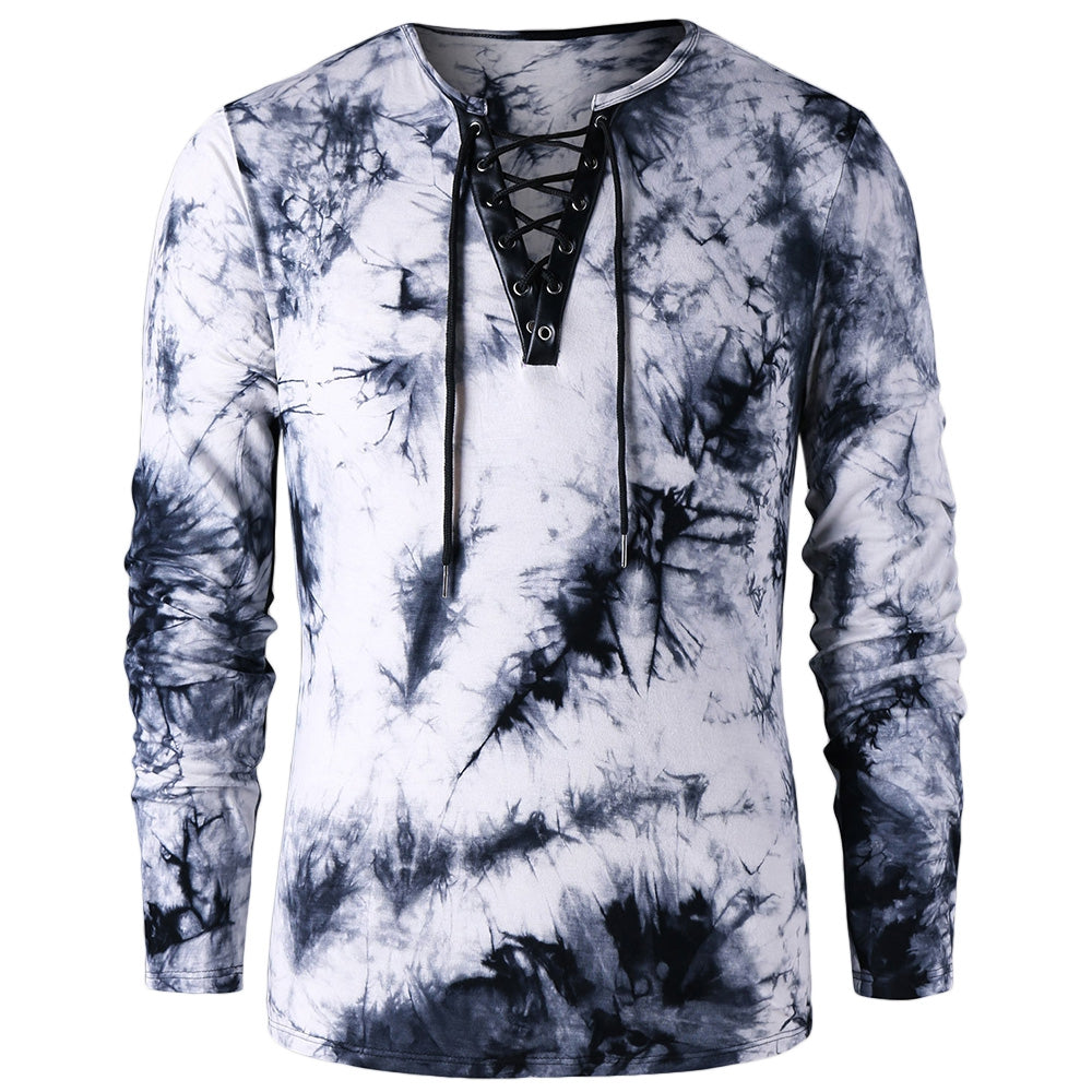 Stylish Tie Dye Men's *Breathable Lace Up T-shirt