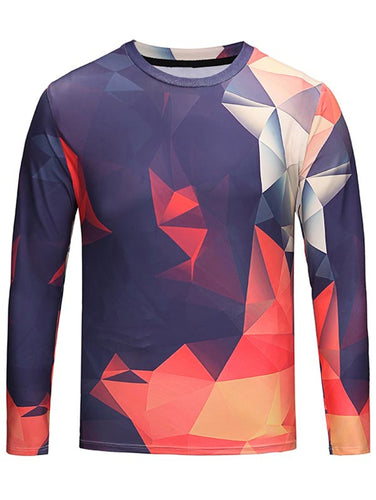 NEW Fashion Style Crew Neck Men's *Breathable Geometric T-Shirt