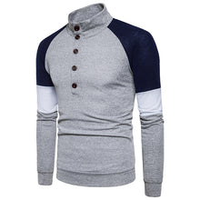 Load image into Gallery viewer, Stand Collar Buttons Color Block Panel Sweater