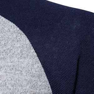 Stand Collar Buttons Color Block Panel Sweater
