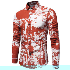 Men's Tie Dye *Breathable Print Cotton Linen Long Sleeve Dress Shirt